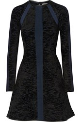 Issa Heidi Leather Trimmed Flocked Stretch Knit Dress Blue