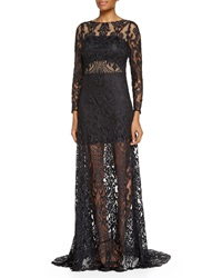 Jovani Long Sleeve Sheer Lace Gown Black