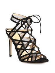 Gianvito Rossi Suede And Mesh Lace Up Cutout Sandals Praline Black