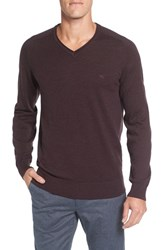 Rodd And Gunn Men's 'Burwood Bay' Wool V Neck Sweater Bordeaux