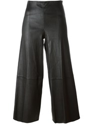 By Malene Birger Stitching Detail Wide Leg Cropped Trousers Black