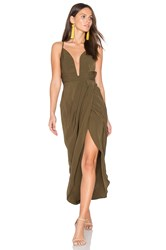 Shona Joy Leticia Plunged Wire Draped Maxi Dress Olive