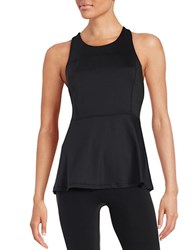 Kensie Athletic Peplum Top Black