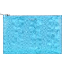 Aspinal Of London Essential Lizard Embossed Leather Flat Pouch Blue