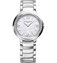 Baume And Mercier M0a10160 Promesse Stainless Steel And Diamond Watch White