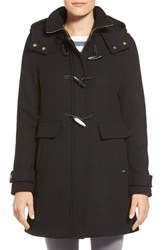 Petite Women's Ellen Tracy Toggle Wool Blend Twill Duffle Coat Black