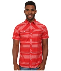 Black Diamond S S Technician Shirt Torch Ice Stripe Men's Short Sleeve Button Up Red