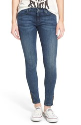 Junior Women's Rvca 'Lately' Zip Hem Skinny Jeans Vintage Indigo