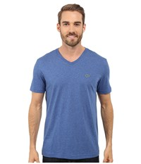 Lacoste S S Pima Jersey V Neck T Shirt Tourmaline Chine Men's Short Sleeve Pullover Blue