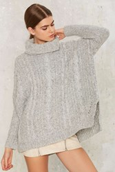 Make Room Cable Knit Sweater Gray