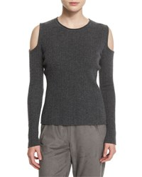 Elie Tahari Marlah Ribbed Cold Shoulder Sweater Granite Melange