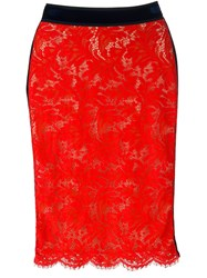 Msgm Lace Pencil Skirt Red