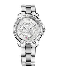 Juicy Couture Ladies Pedigree Silvertone And Crystal Chronograph Watch
