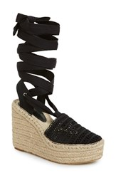 Women's Jeffrey Campbell 'Libra' Espadrille Wedge Sandal Black Weave Combo