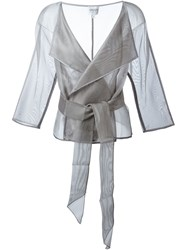 Armani Collezioni Belted Wrap Jacket Grey