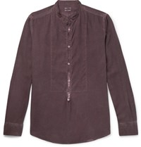 Massimo Alba Maimo Grandad Collar Garment Wahed Modal And Cotton Blend Hirt Burgundy