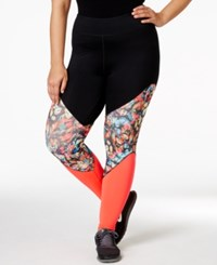 Jessica Simpson The Warm Up Plus Size Printed Active Leggings Balck Twighlight Floral