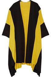 Victor Alfaro Striped Wool And Silk Blend Cape Black Yellow