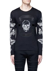 Alexander Mcqueen Skull Print Satin Patch Long Sleeve T Shirt Black White