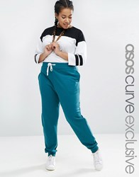 Asos Curve Sweat Pant With Contrast Tie Dark Green