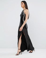 Tfnc Sequin High Neck Maxi Dress With Split Black