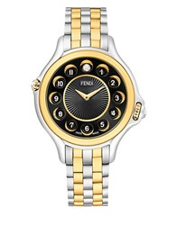 Fendi Crazy Carats Diamond Topaz 18K Yellow Gold Plated And Stainless Steel Bracelet Watch F107134000t0 Two Tone