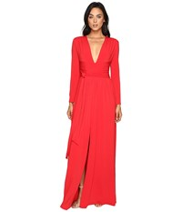 Halston Long Sleeve Jersey Gown With Tie And Front Slit Scarlet Women's Dress Red