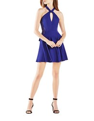 Bcbgmaxazria Keyhole Fit And Flare Dress Orient Blue