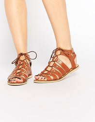 London Rebel Gladiator Leather Flat Sandals Tan