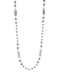 Stephen Dweck Long Smoky Quartz Red Agate And Turquoise Beaded Necklace
