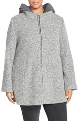 Plus Size Women's Kristen Blake Hooded Boiled Wool Blend Swing Coat Grey
