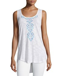 Neiman Marcus Embroidered Sheer High Low Tunic White