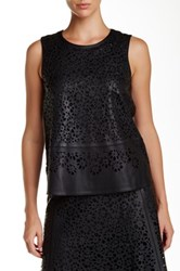 Zac Posen Meryl Leather Blouse Black