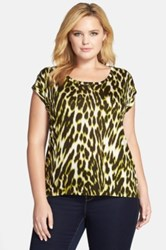 Michael Michael Kors 'Albertine' Leopard Print Elliptical Hem Top Plus Size Green