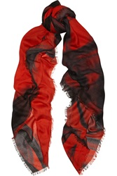 Maje Printed Twill Scarf Red