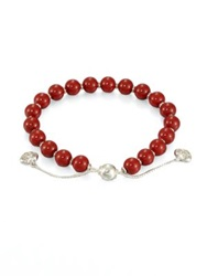Gucci San Valentino Wood And Sterling Silver Beaded Bracelet Red