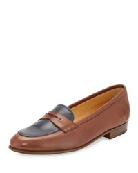 Gravati Flat Leather Penny Loafer Brown Navy