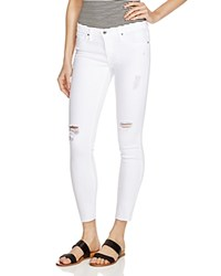 Ag Jeans Ag Ripped Skinny Jeans In White