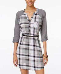 Ultra Flirt Juniors' Lace Trim Plaid Shirtdress Black Pink