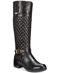 Bandolino Blushe Quilted Wide Calf Riding Boots Black Leather