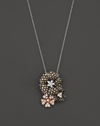 Bloomingdale's Brown Black And White Diamond Flower Pendant Necklace In 14K White Yellow And Rose Gold 17 Multi