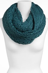 Junior Women's Lulu Cable Knit Infinity Scarf Blue Green Online Only Teal