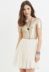 Forever 21 Sequin Paneled Fit And Flare Dress Gold Ivory