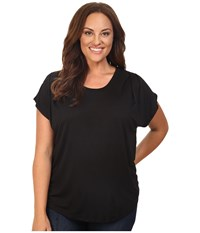 B Collection By Bobeau Curvy Plus Size Nora Scoop Neck T Shirt Black Women's T Shirt