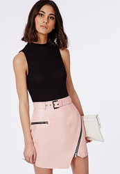 Missguided Belted Faux Leather Asymmetric Mini Skirt Pink Pink
