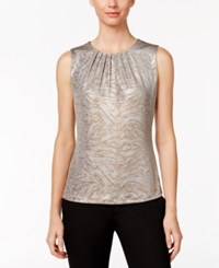 Calvin Klein Metallic Printed Pleat Neck Shell Cream Gold