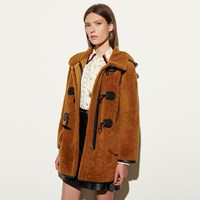 Coach Shearling Toggle Coat Honey