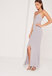 Missguided Split Front Strappy Fishtail Maxi Dress Lilac Grey