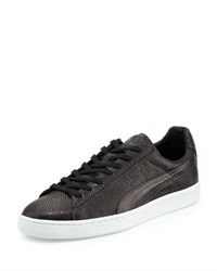 Puma X Alexander Mcqueen States Lizard Embossed Leather Sneaker Black Whit