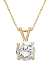 B. Brilliant 18K Gold Over Sterling Silver Necklace Cubic Zirconia Pendant 1 Ct. T.W